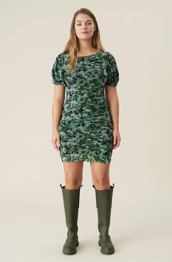 Ganni Green Floral Mesh Ruched Mini Dress