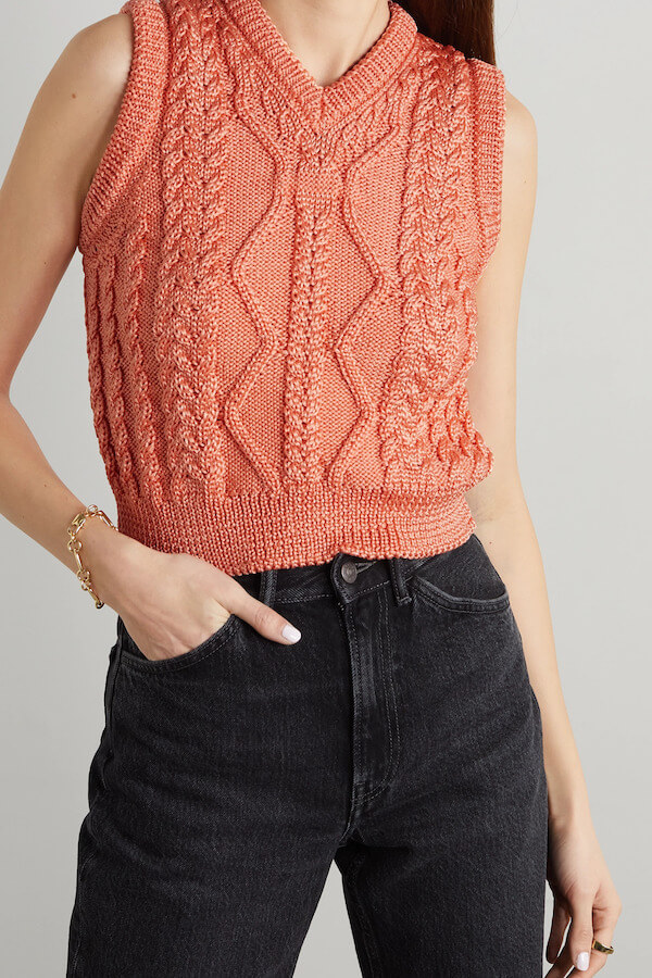 ACNE STUDIOS Coral Cable-Knit Tank Top