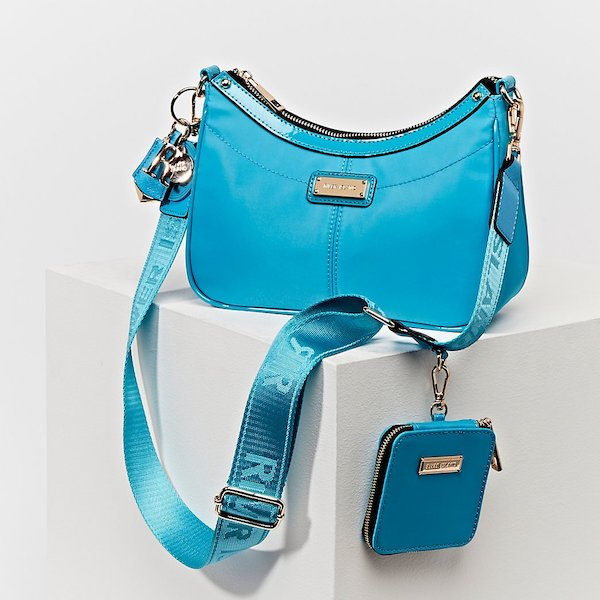 River Island Blue Scoop Shoulder Bag with Mini Pouch