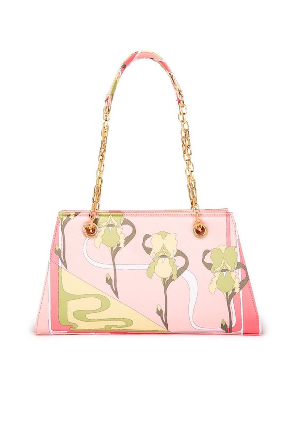Rixo Dusty Pink Floral Chain Trapeze Bag