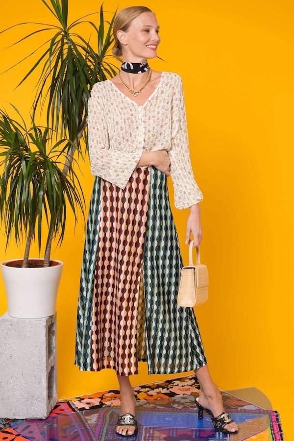Rixo Sandra Retro Spot Mix Knit Midi Skirt