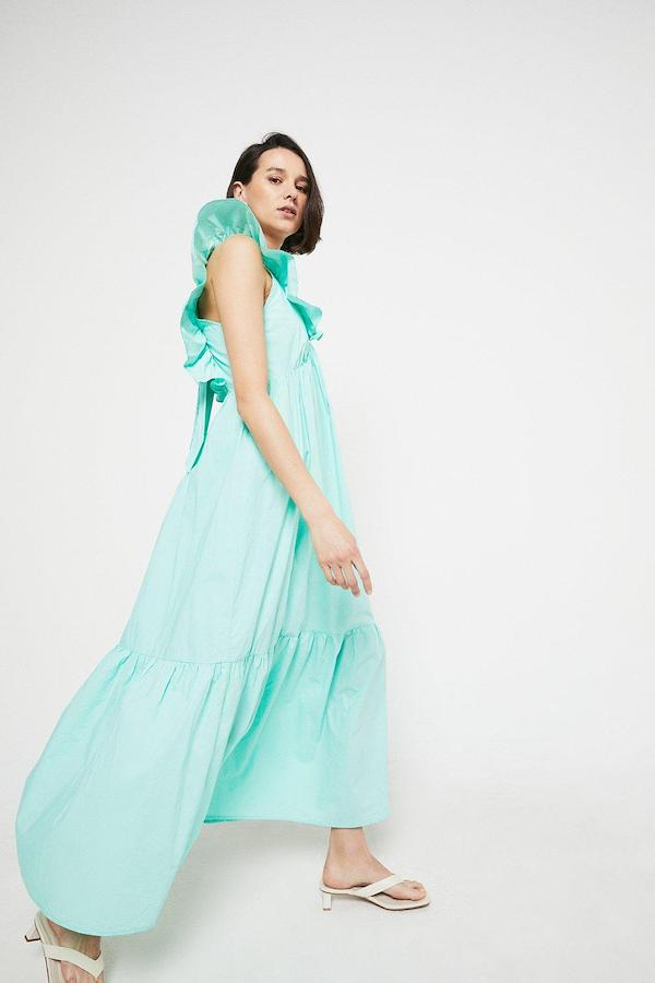 Warehouse Maxi Dress in Cotton with Frill