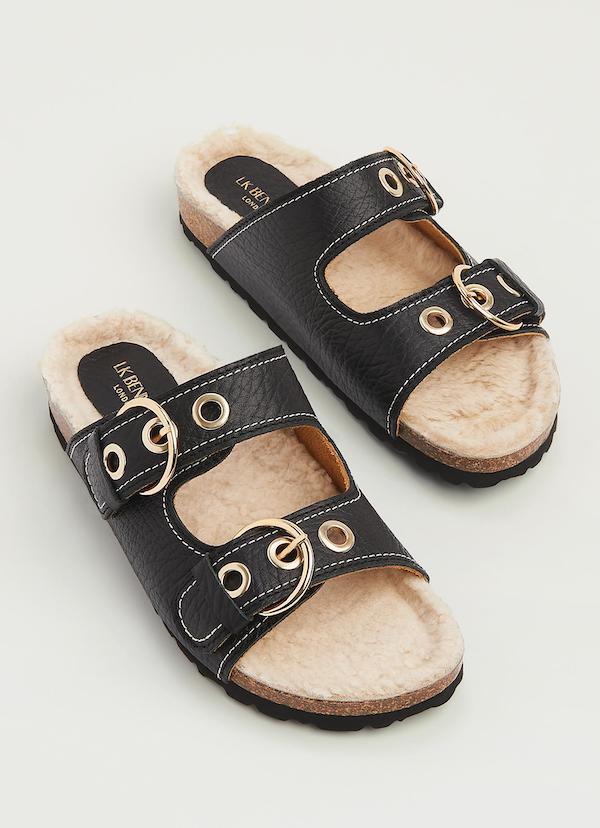 LK Bennett Romeo Black Grained Leather Shearling Flat Sandals