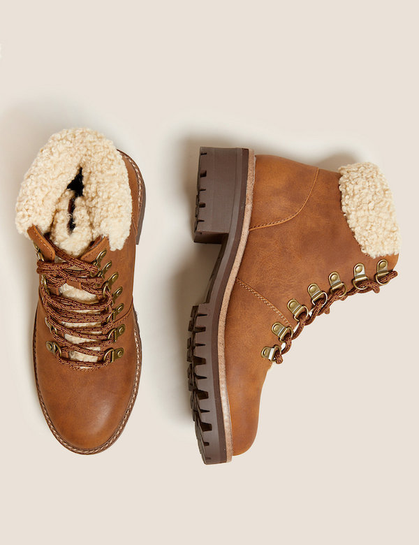 M&S Hiker Borg Lined Block Heel Ankle Boots, £49.50, M&S - buy now