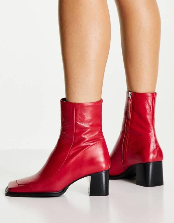 ASOS DESIGN Roberta premium leather square toe boots in red