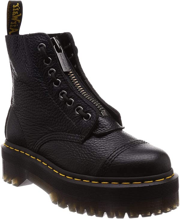 Dr. Martens Womens Sinclair Aunt Sally Black Zipper Closed Toe Ankle Boots