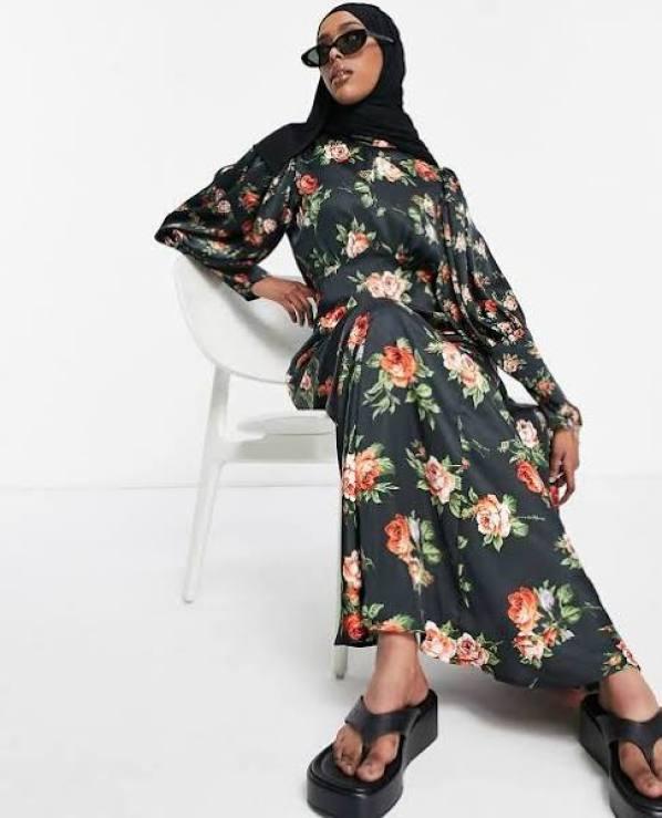 Floral High Neck Satin Maxi Dress ASOS