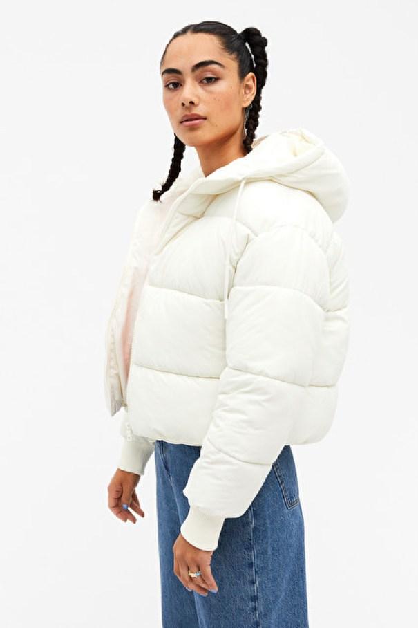 white Cropped Puffer Jacket Monki