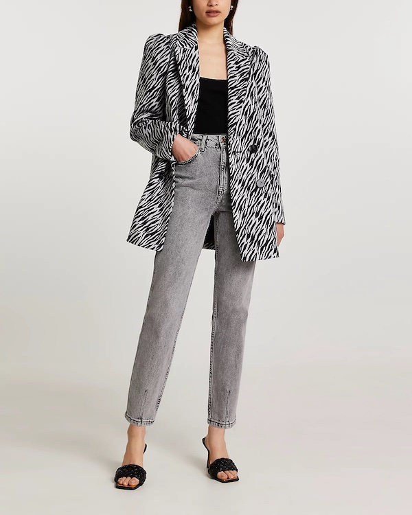 Zebra print blazer, £70, River Island
