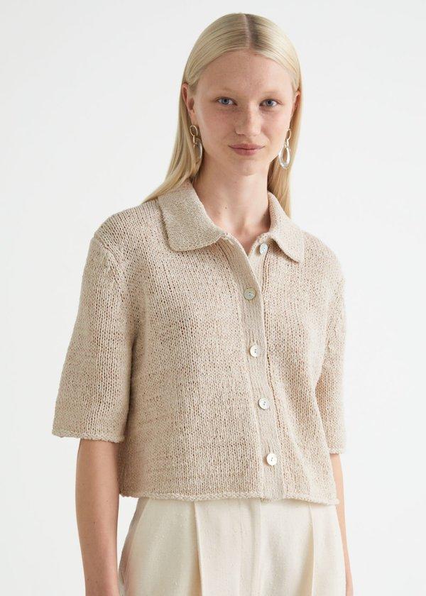 Boxy Collared Knit Cardigan