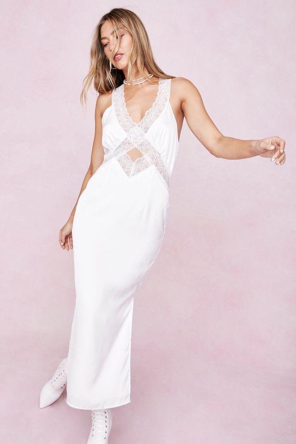 Satin Lace Trim Cutout Midi Dress Nasty Gal