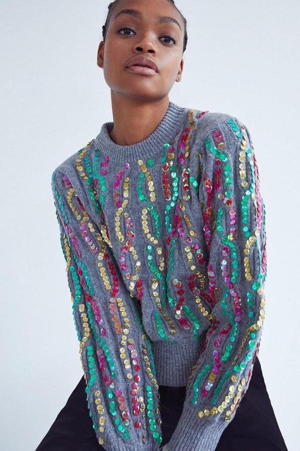 Recycled Mixed Sequin Cable Knit Jumper