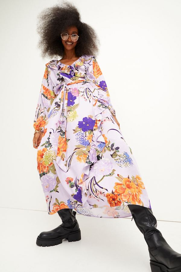 Flounce-Trimmed Dress H&M