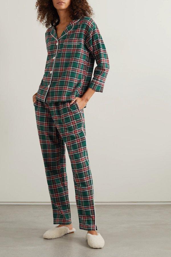 Marina Checked Cotton Flannel Pajama Set Sleepy Jones at Net-A-Porter