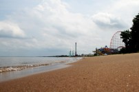 The Cedar Point Beach stretches 1 mile along Lake Erie.