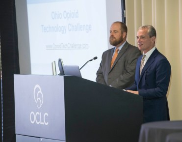 Speakers (left to right): Keith Jenkins, Opioid Programs Manager of the Ohio Third Frontier; David Goodman, Director of the Ohio Development Services Agency and Chair of the Ohio Third Frontier Commission