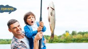 Fishmyspot logo and father son fishing