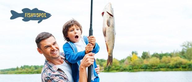 Fishmyspot logo and father son fishing