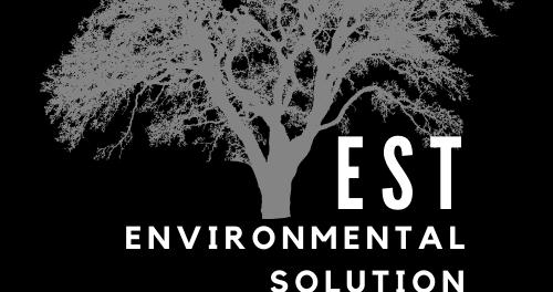 EST Environmental Solution Technologies logo - gray tree on black background