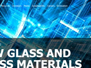 "NSG Group screencapture of homepage website - ""Pioneer of new glass and glass materials"""