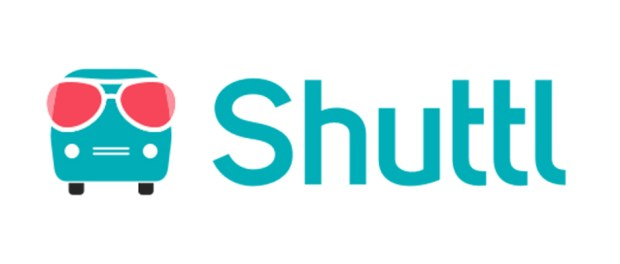 Shuttl logo - bus shuttle graphic with sunglasses on