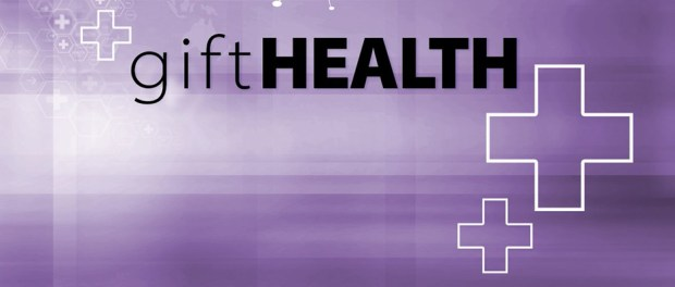 giftHealth-logo with light purple background with medical cross signs