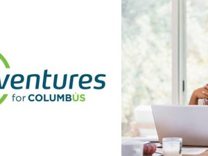Using laptop and bluetooth earbuds, woman video conferences from home and Rev1Ventures for Columbus company logo