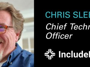 Chris Slee headshot chief technology officer and IncludeHealth logo