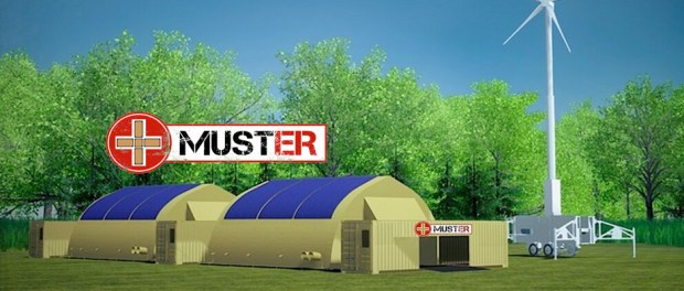 Muster logo and tents