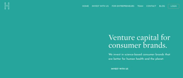 H Venture Partners Website Screenshot - Venture capital for consumer brands. We invest in science-based consumer brands that are better for human health and the planet. INVEST WITH US