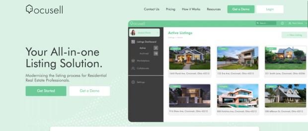 Ocusell, a new proptech startup-website screenshot