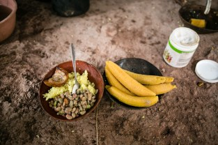A typical jungle lunch of rice, beans, a little bit of pork and of course bananas. Bananas are used in what seems like every dish in the jungle.