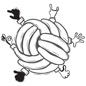 Illustration ball of arms and hands