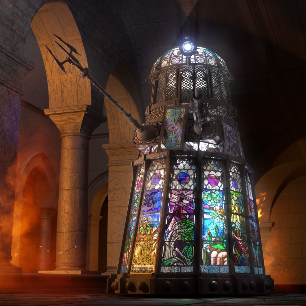 Chris Thompson's rendering of a stained-glass Dalek.