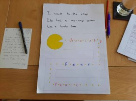 A haiku and a drawing of a game of Pac Man