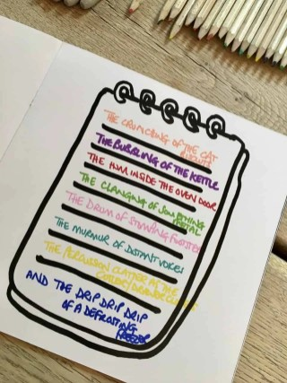 A notepad that has different coloured sentences on each line.