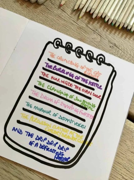 A drawing of a notepad that has different coloured sentences on each line.