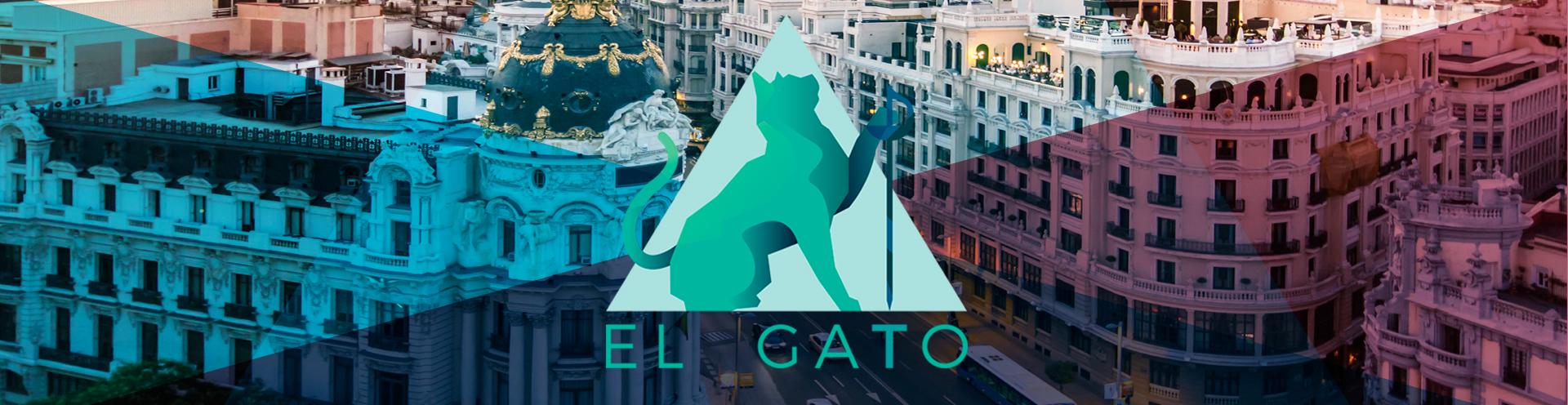Logo de El Gato Esgrima Madrid, con una foto de fondo de Madrid