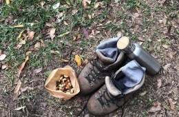 Scroggin // What's In It And Why's It So Damn Good?, photo by Andy Lewis, hiking boots, water bottle, snack, trail mix, rest stop