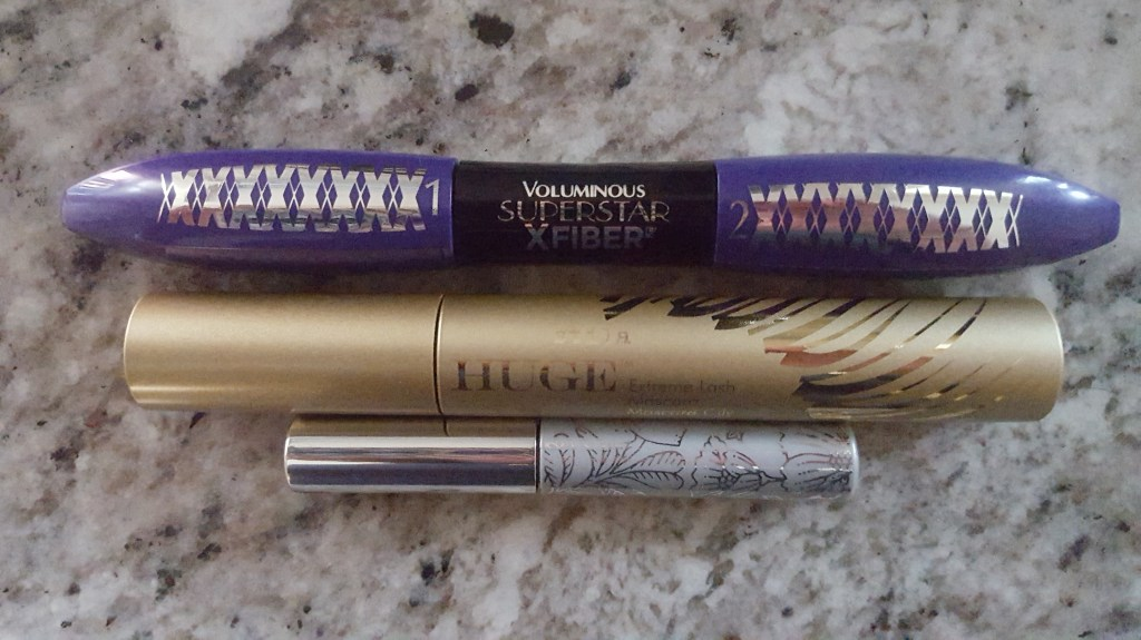 L'Oreal Volumious Superstar X Fiber Mascara; Stila Huge Extreme Lash Mascara; Clinique Bottom Lash Mascara
