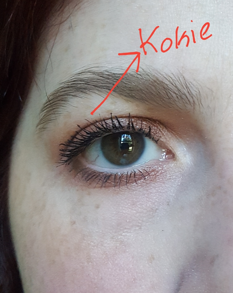 Kokie Volume + Length Mascara applied on lashes