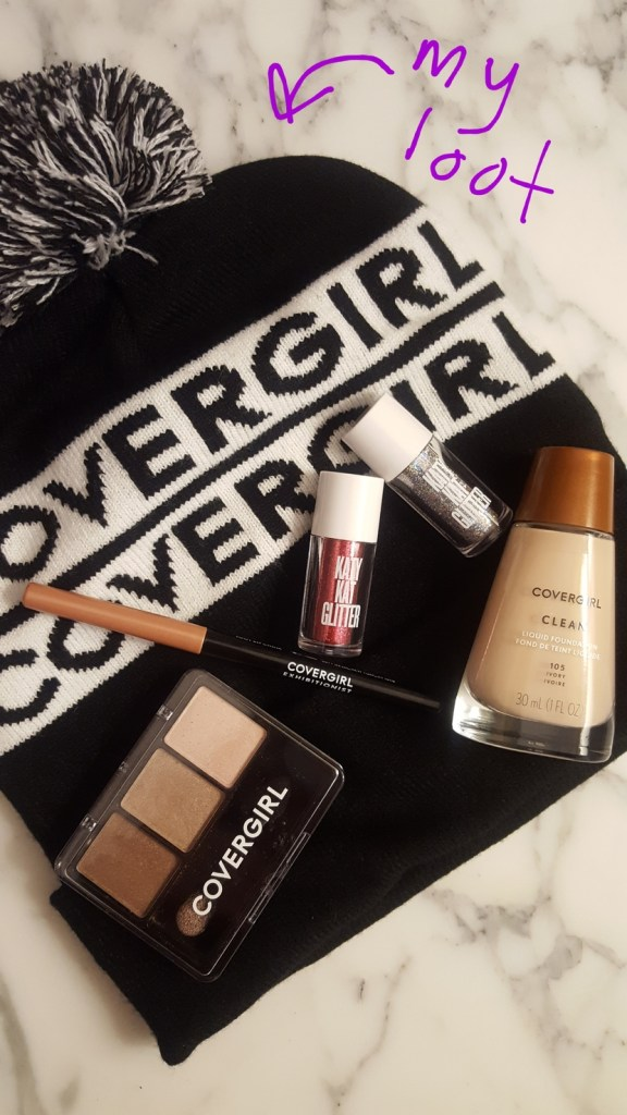CoverGirl haul products including branded beanie