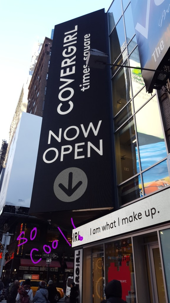 Exterior of CoverGirl flagship store in Times Square, NYC