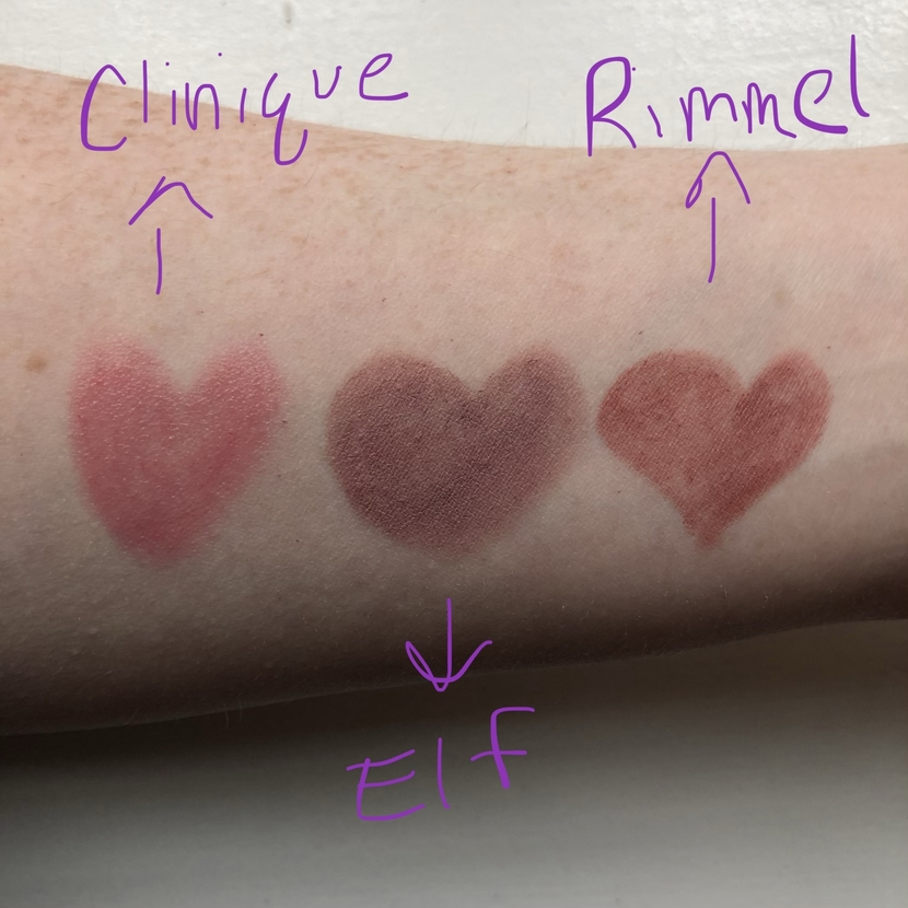 Swatches of (L to R): Clinique Chubby Stick Moisturizing Lip Balm in Woppin Watermelon, Elf Matte Lip Color in Tea Rose, & Rimmel Exaggerate Lip Liner in Addiction
