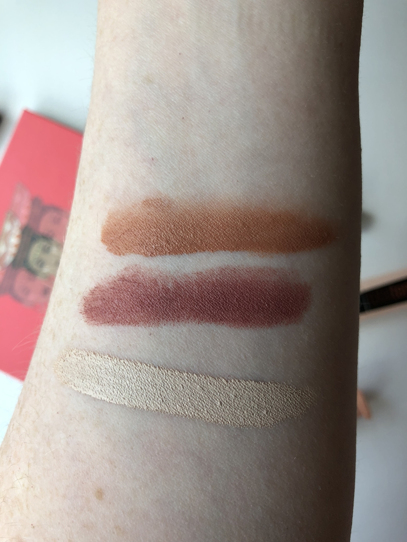 Swatches of Glossier Cloud Paint in Dusk, Flower Beauty Honey Nude lipstick, & NARS Radiant Creamy Concealer in Chantilly