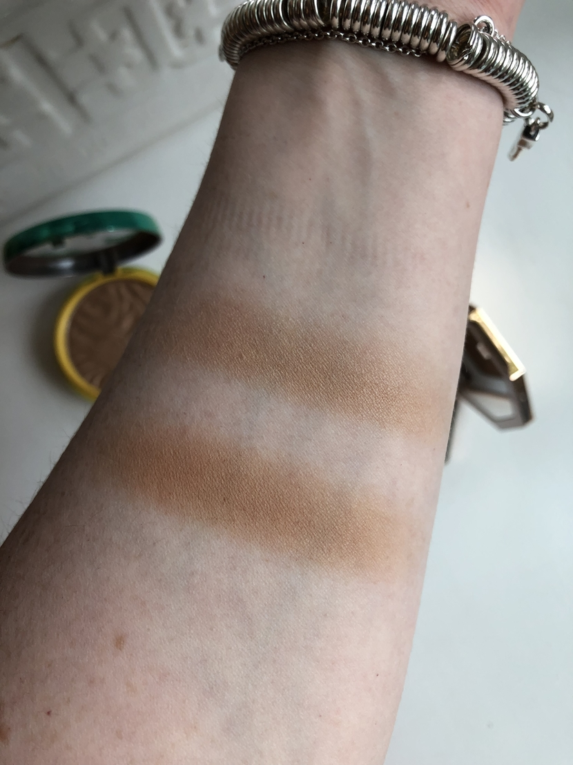 Fenty Beauty Sun Stalk'r Bronzer in Shady Biz (bottom swatch) / Physician's Formula Butter Bronzer in Bronzer (top swatch)