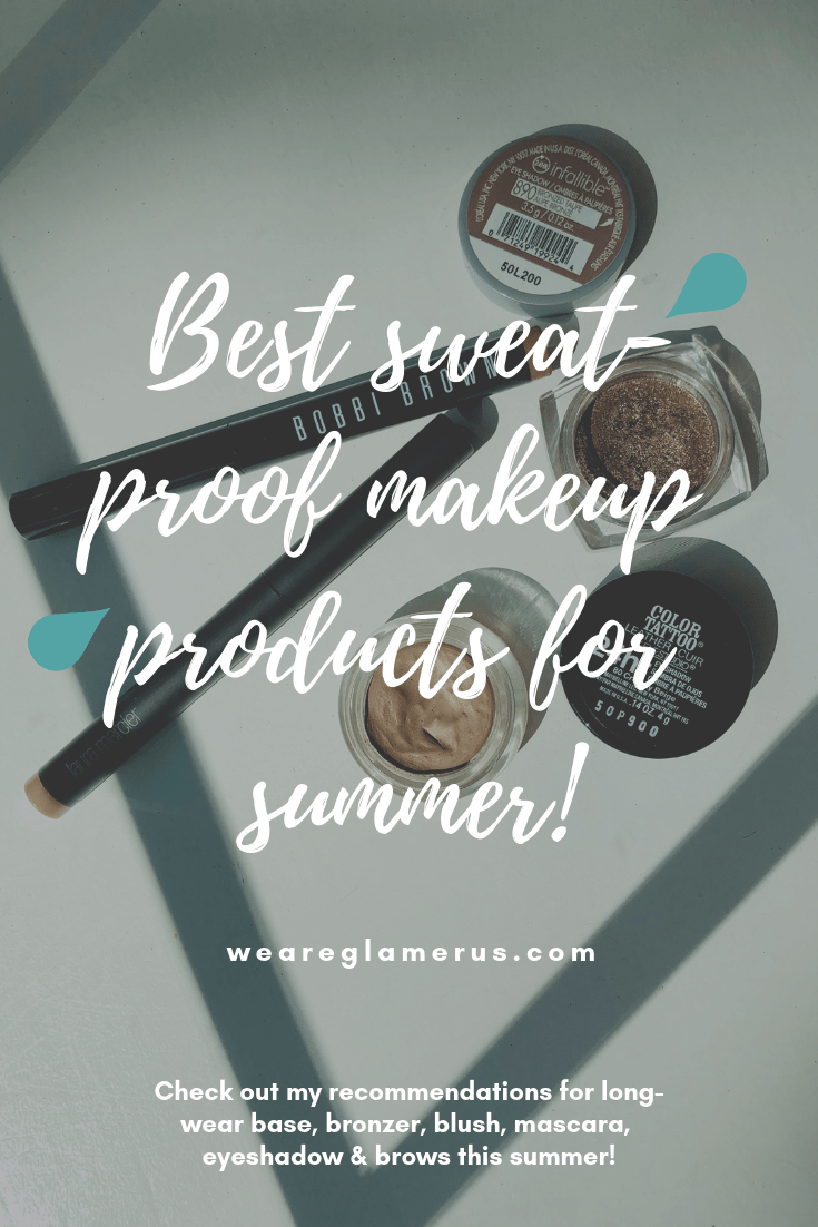 Check out all my product recommendations for the best sweat-proof, long-wear base, brows, blushes, bronzer, mascara & eyeshadows!