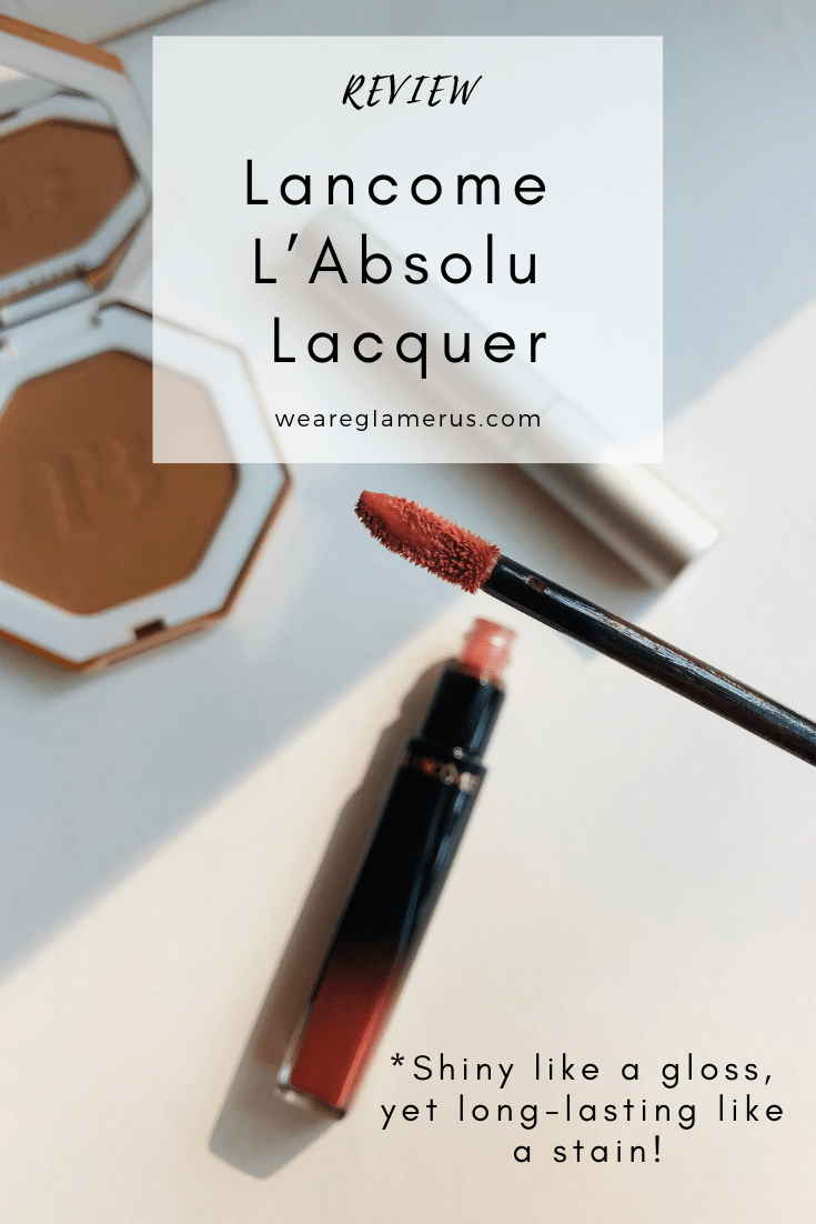 It's glossy like a gloss, yet long-wearing like a stain! Check out my full review of the Lancome L'Absolu Lacquers!