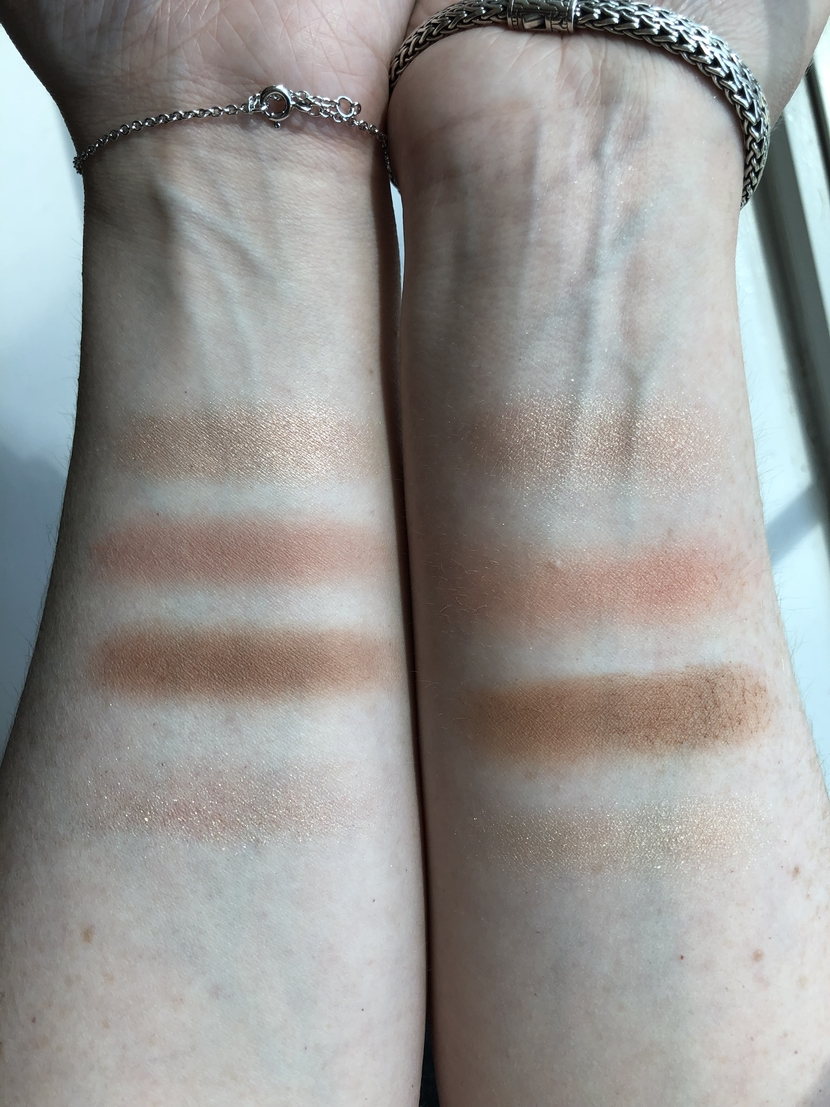 Arm swatch comparisons between CT Pillow Talk Palette (left arm), and L'Oreal Paradise Enchanted Palette (right arm)