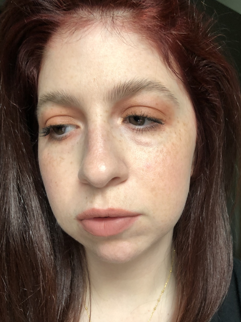 Makeup look using 100% cruelty-free products (side view)